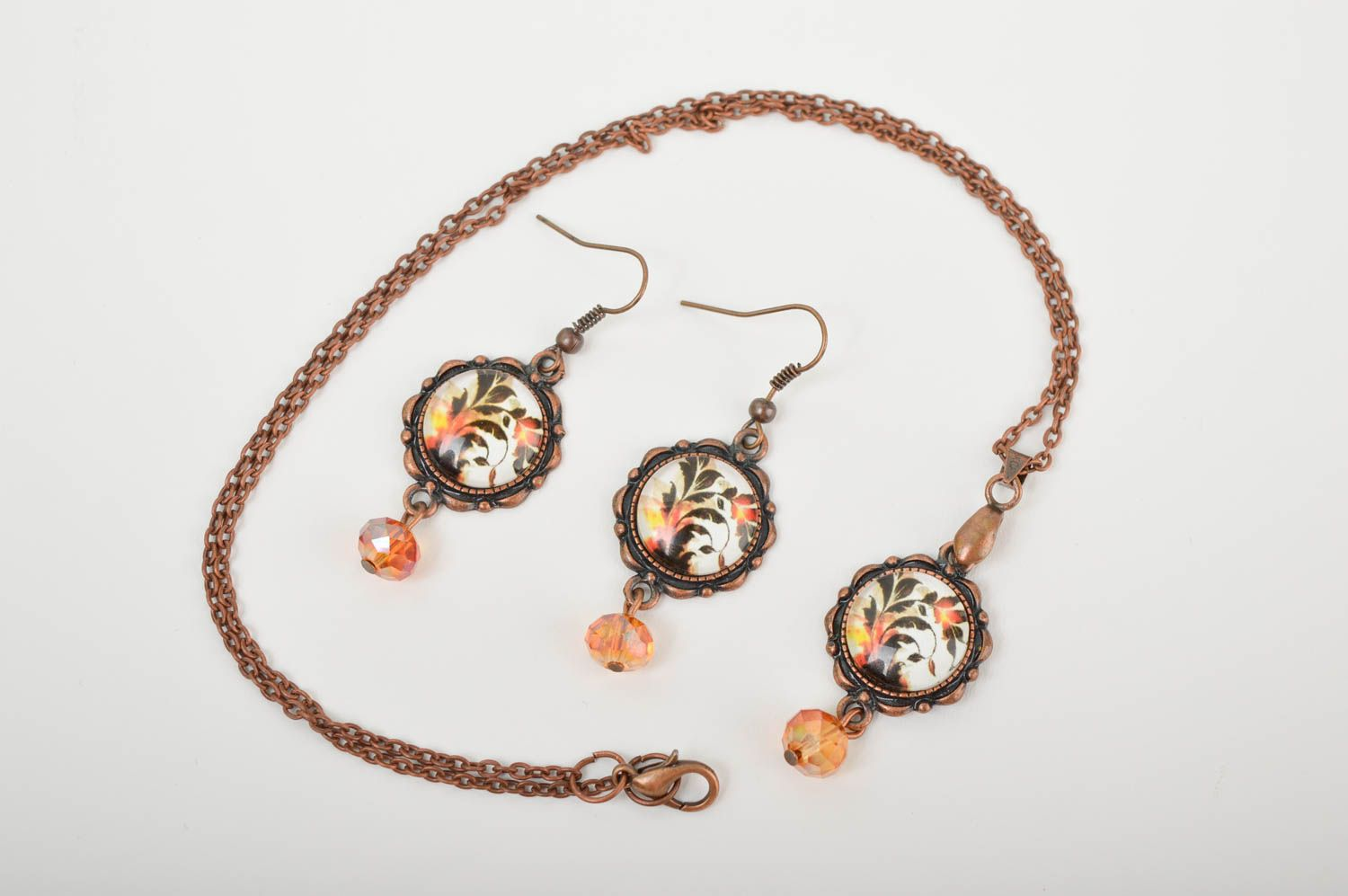 Handmade metal jewelry set glass bead earrings pendant necklace gifts for her photo 4