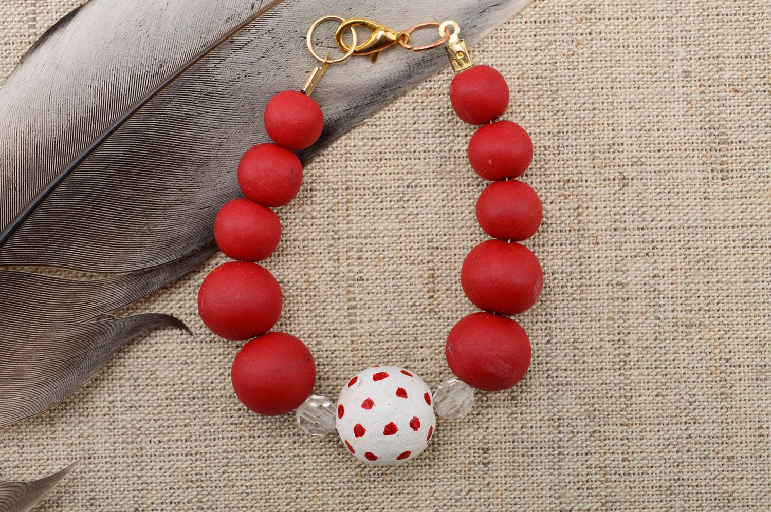 Handmade beautiful bracelet plastic red bracelet stylish wrist accessory photo 1