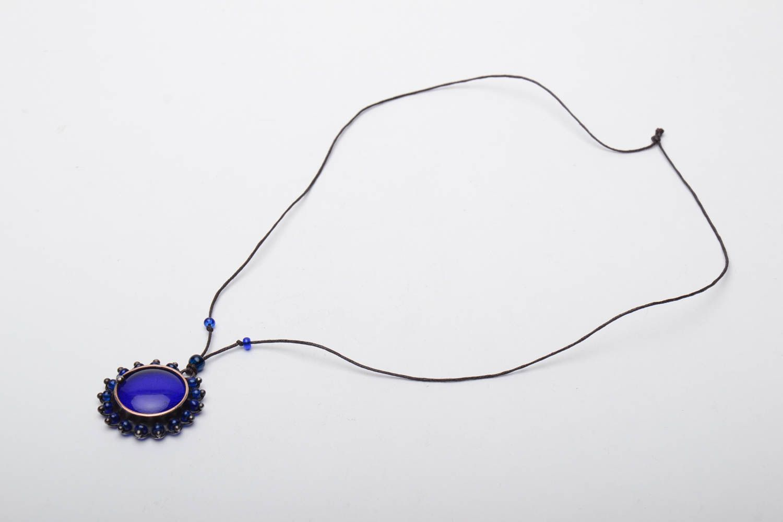 Designer copper pendant with blue glass photo 2