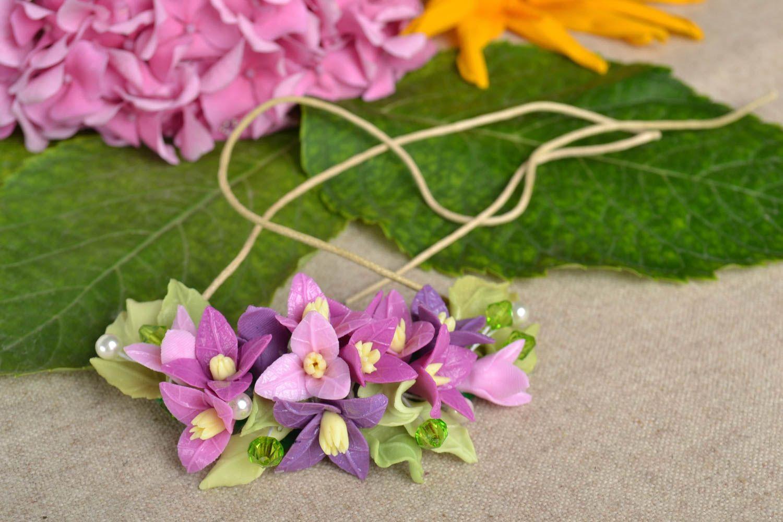 Schmuck Collier handmade Damen Halskette Halsschmuck für Damen mit Blumen lila foto 1