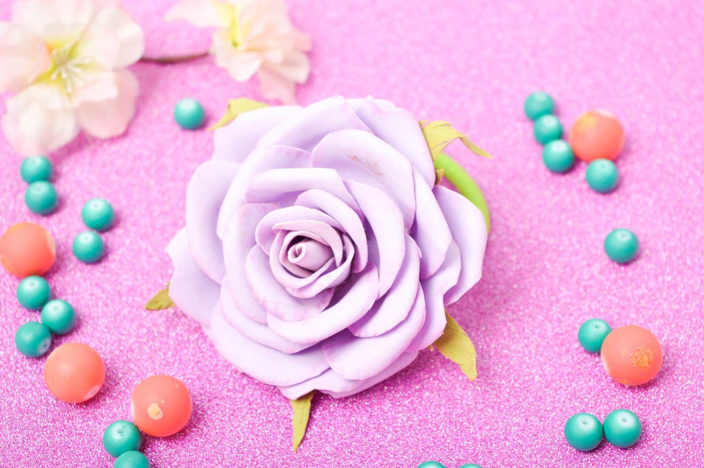 Blumen Haargummi handmade Schmuck Mädchen Haarschmuck lila Rose elegant schön foto 1
