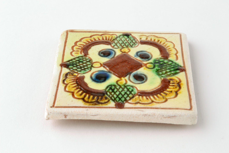 Ceramic magnet for fridge with Ukrainian painting photo 3