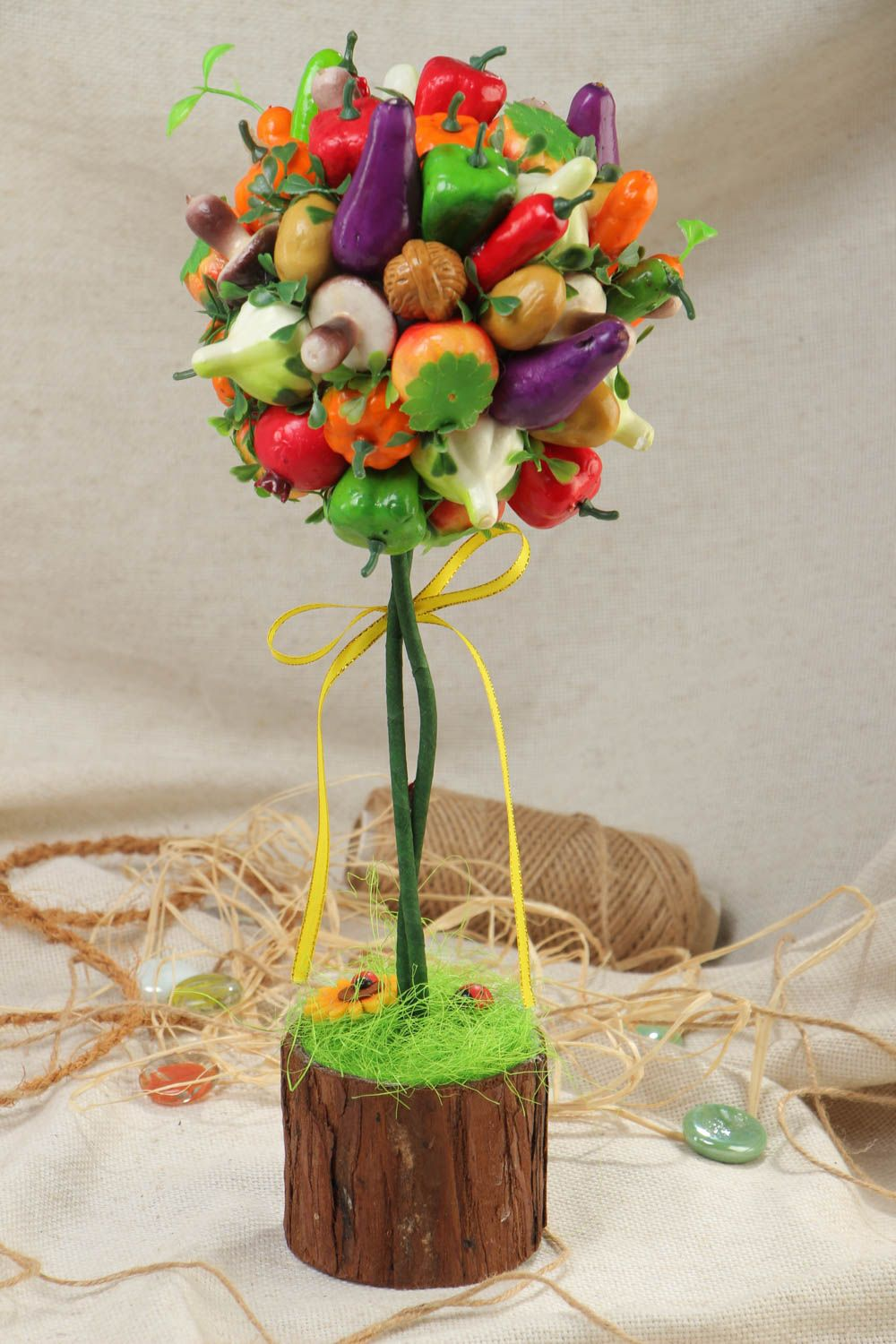 Handmade decorative bright topiary tree with fruit and vegetables for table decor photo 1
