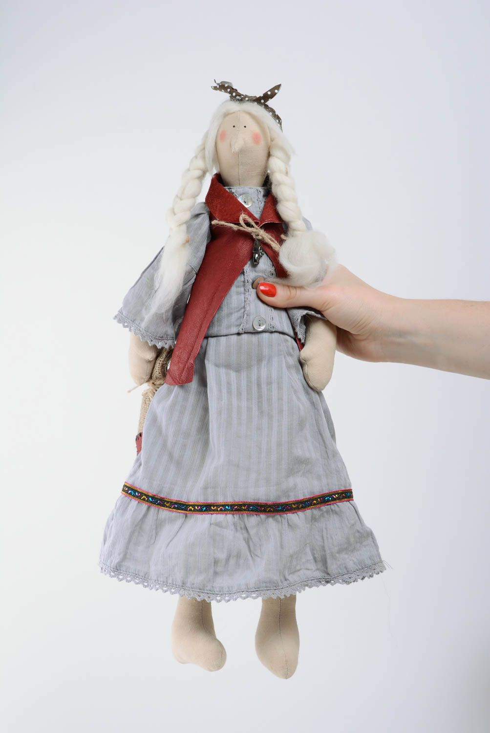 Designer doll for home interior made of cotton and wool handmade gift for baby photo 3