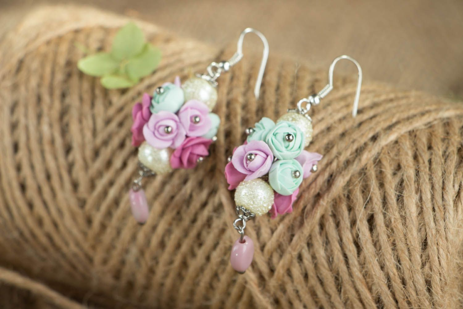 Earrings with flowers made of polymer clay Roses photo 3