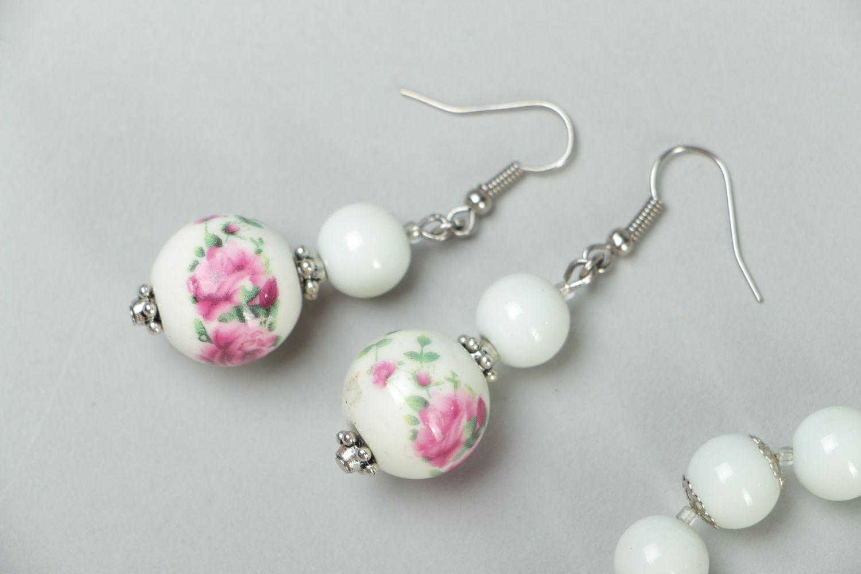 Ceramics and Czech glass jewelry set earrings and bracelet photo 2