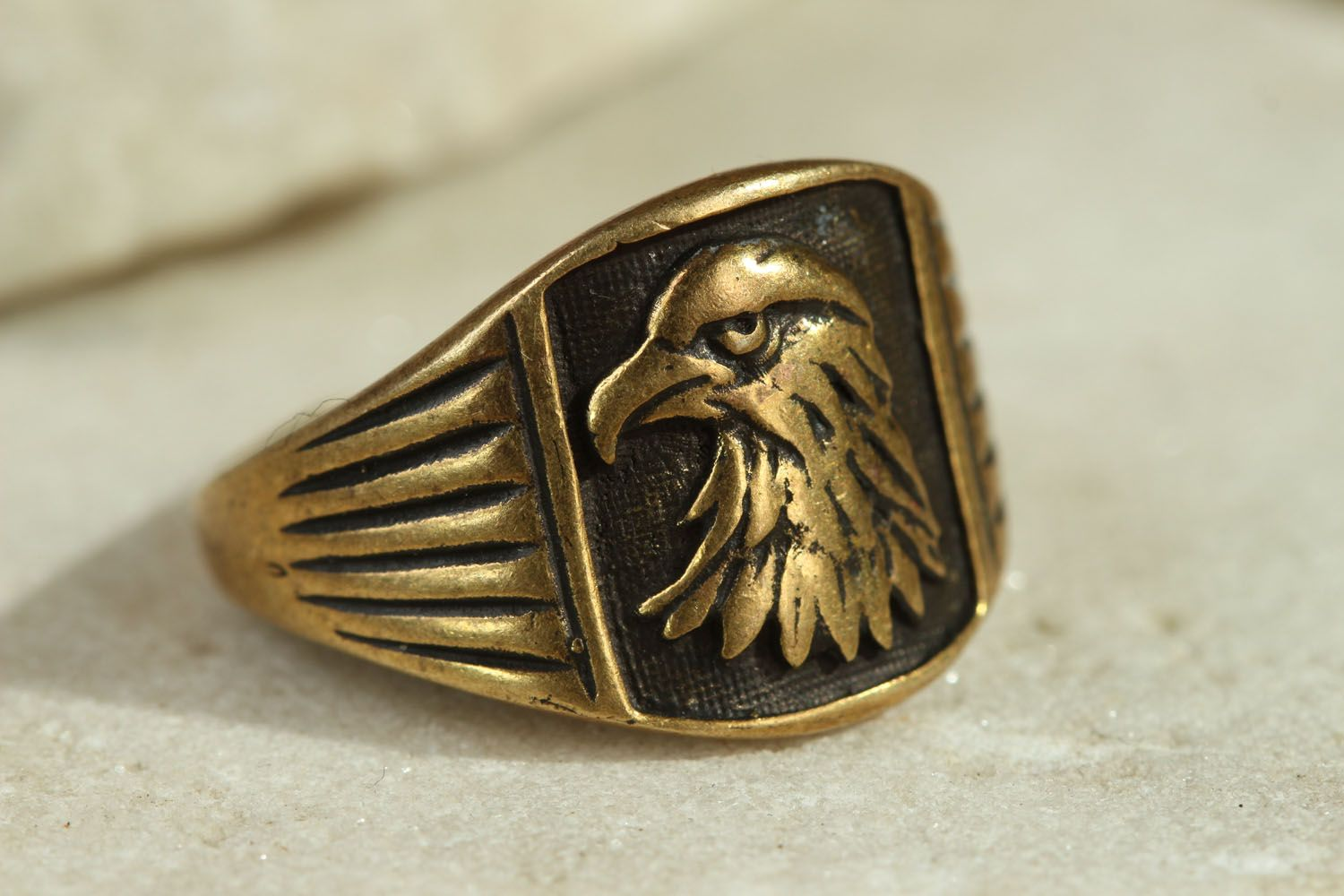 Homemade bronze seal ring Eagle photo 1