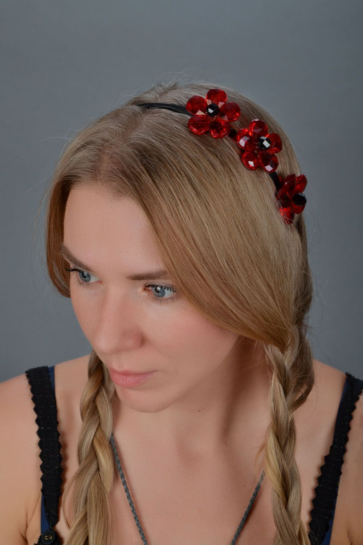 Headband Red Flower photo 1