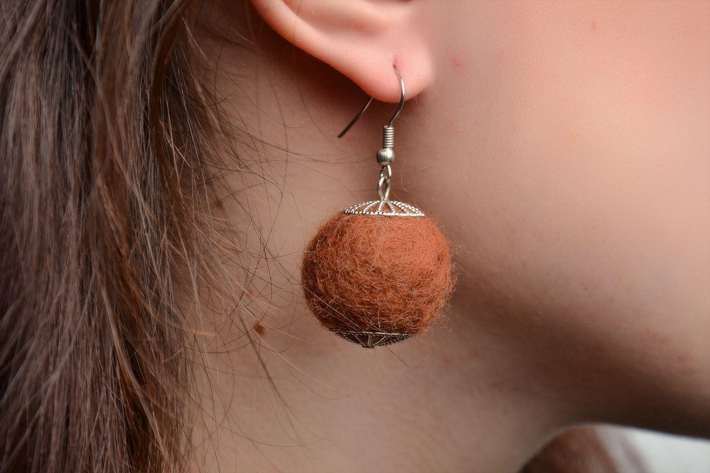 Brown wet felted wool earrings photo 2