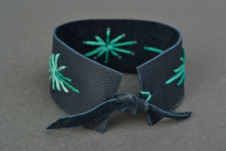 Embroidered Genuine Leather Bracelet