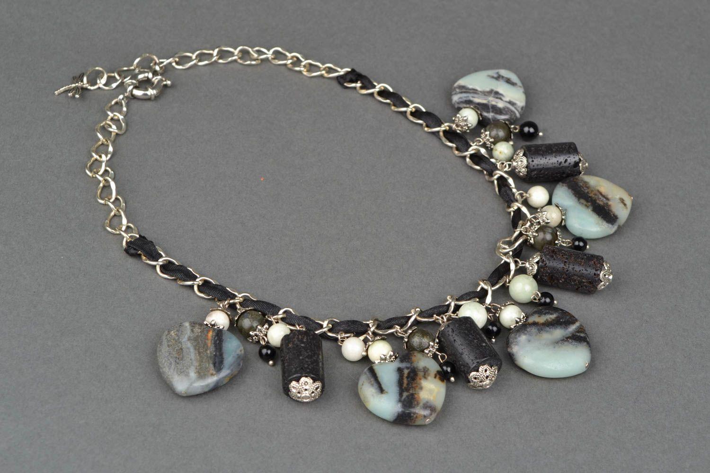 Колье с натуральными камнями и металлической цепочкой  фото 4