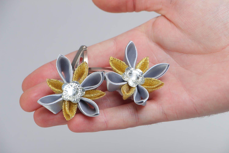 Set of 2 handmade satin ribbon flower hair clips for girls photo 5