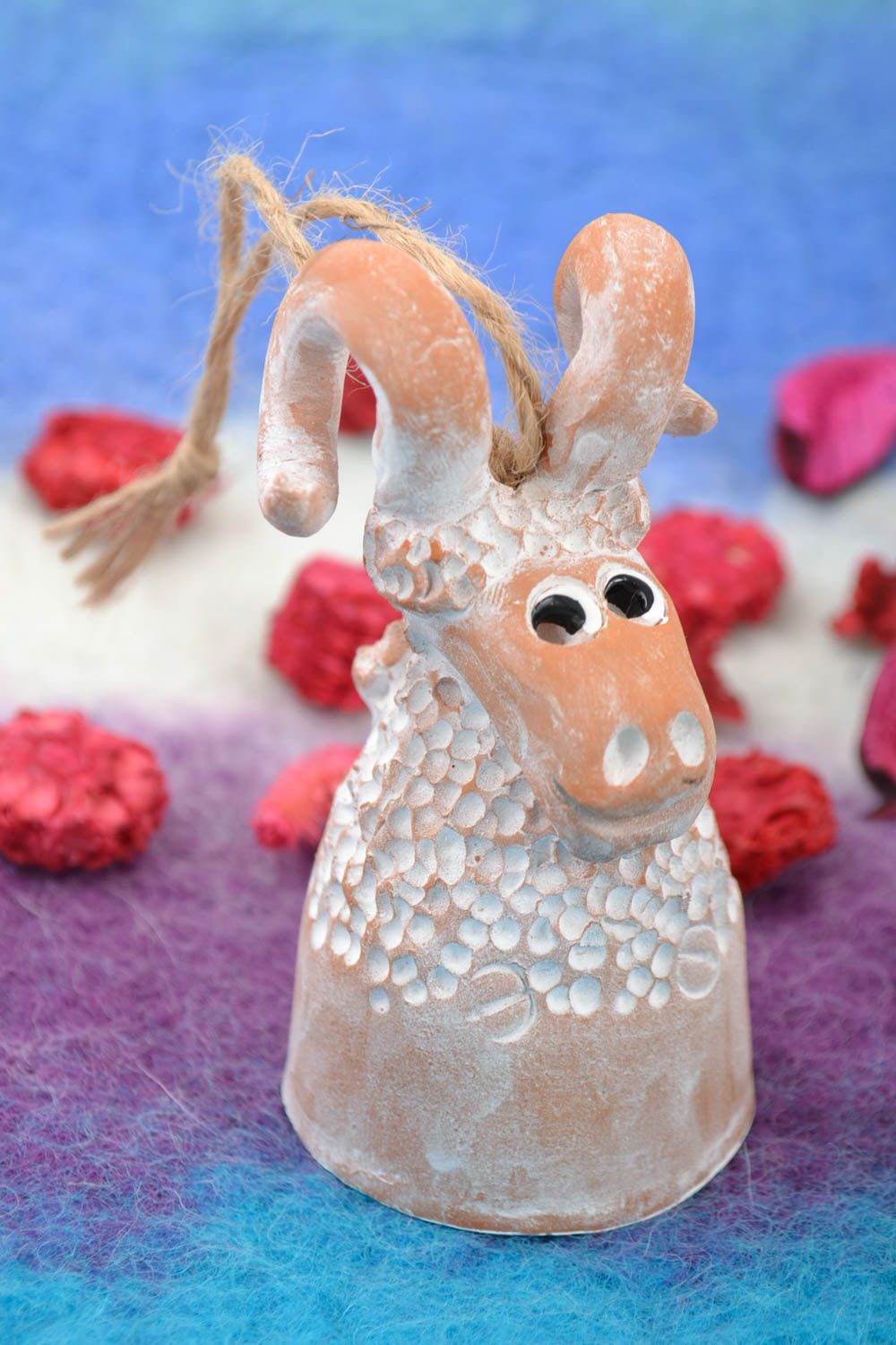 Designer's ceramic bell in the shape of a ram with painting handmade photo 1