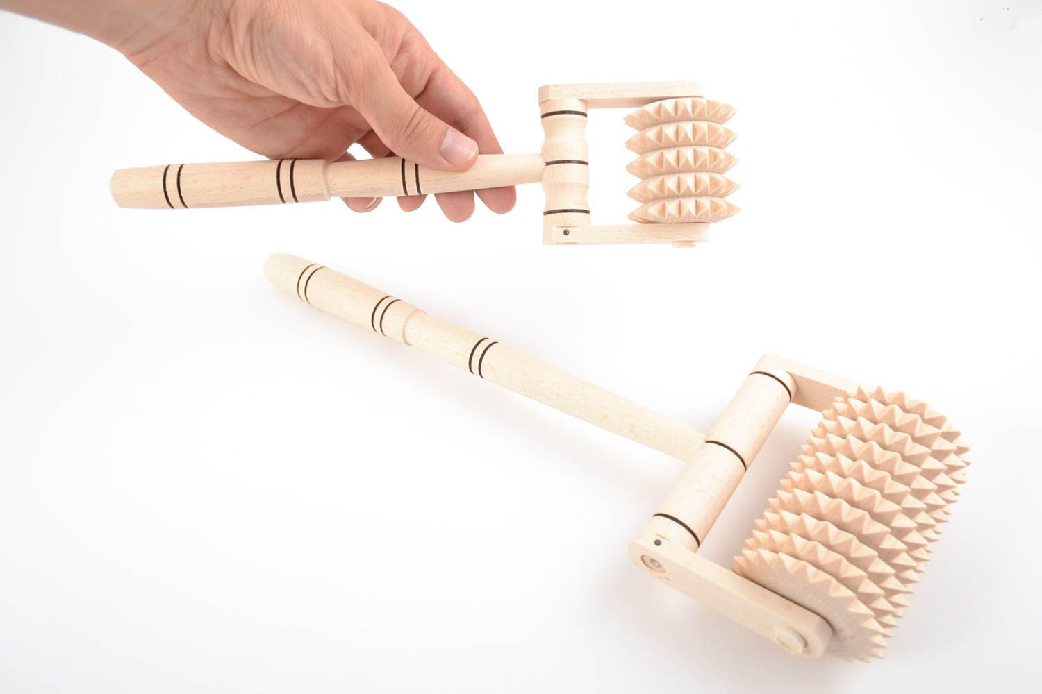 Set of handmade wooden foot and back massagers 2 pieces of different sizes photo 5