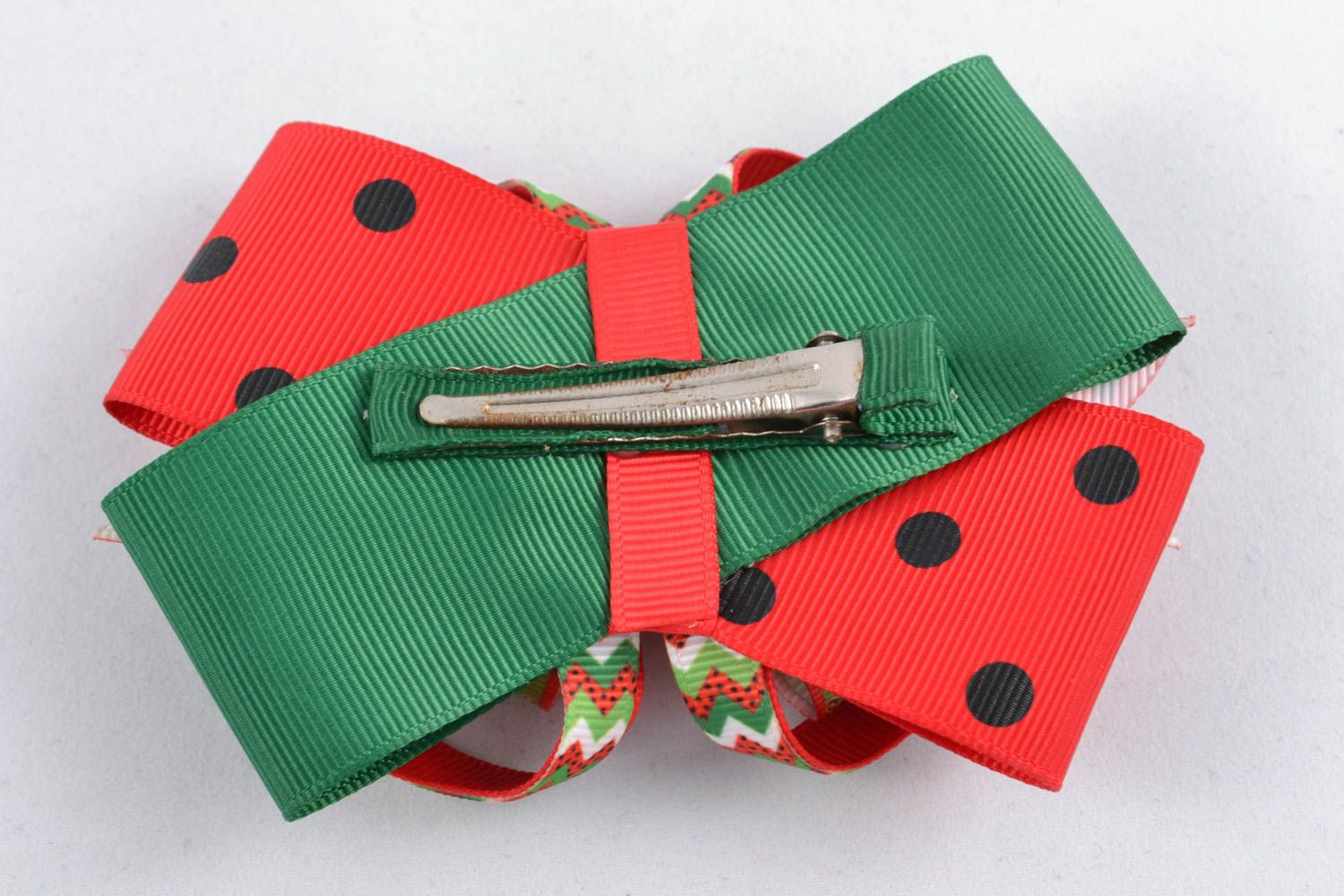 Bow hair clip Water-melon photo 1