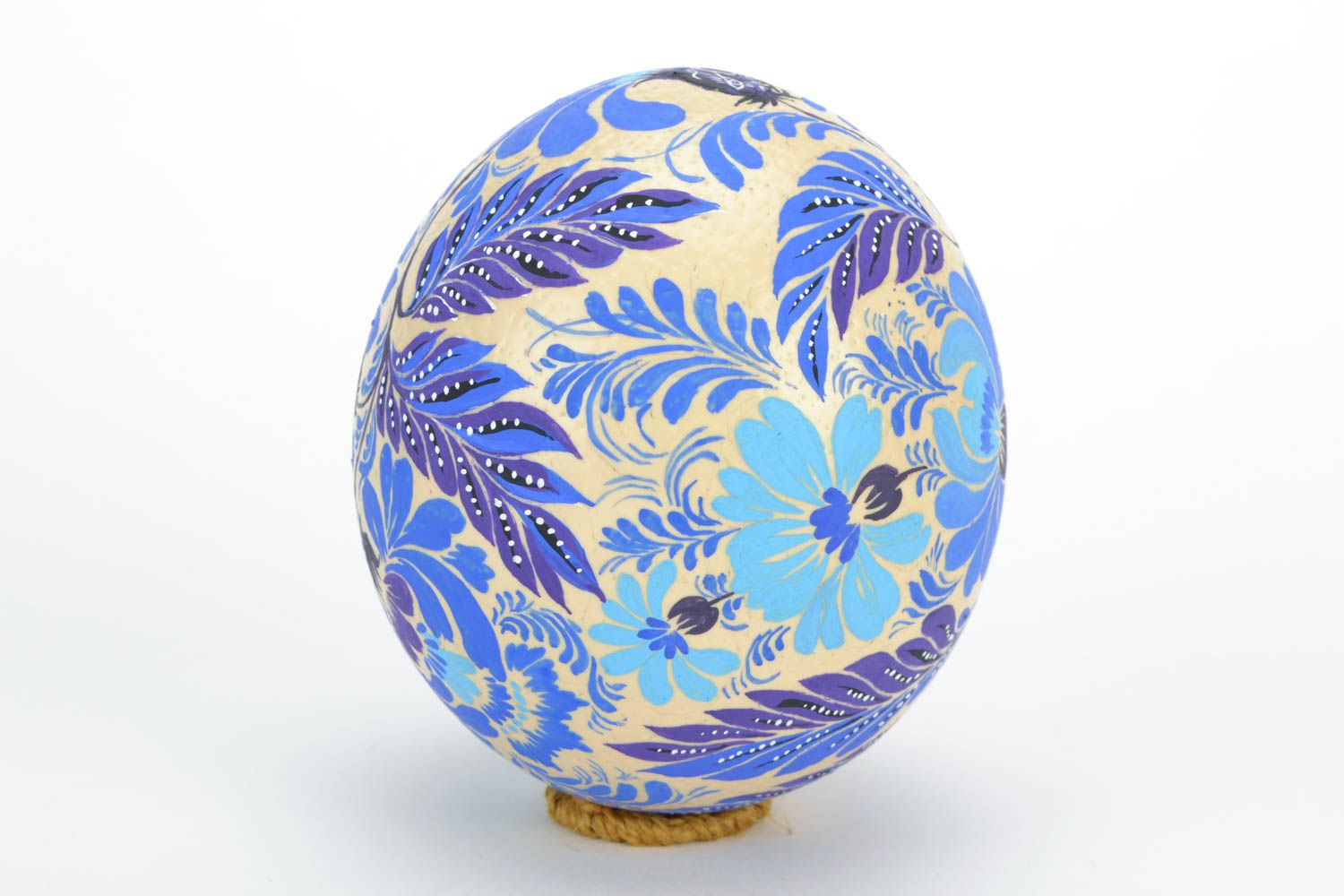 ostrich easter eggs Beautiful ostrich egg with folk blue Petrikov painting home Easter decor ideas - MADEheart.com