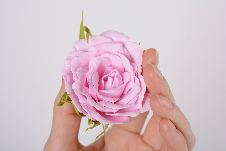 Beautiful women's handmade plastic suede flower hairpin Gentle rose photo 5