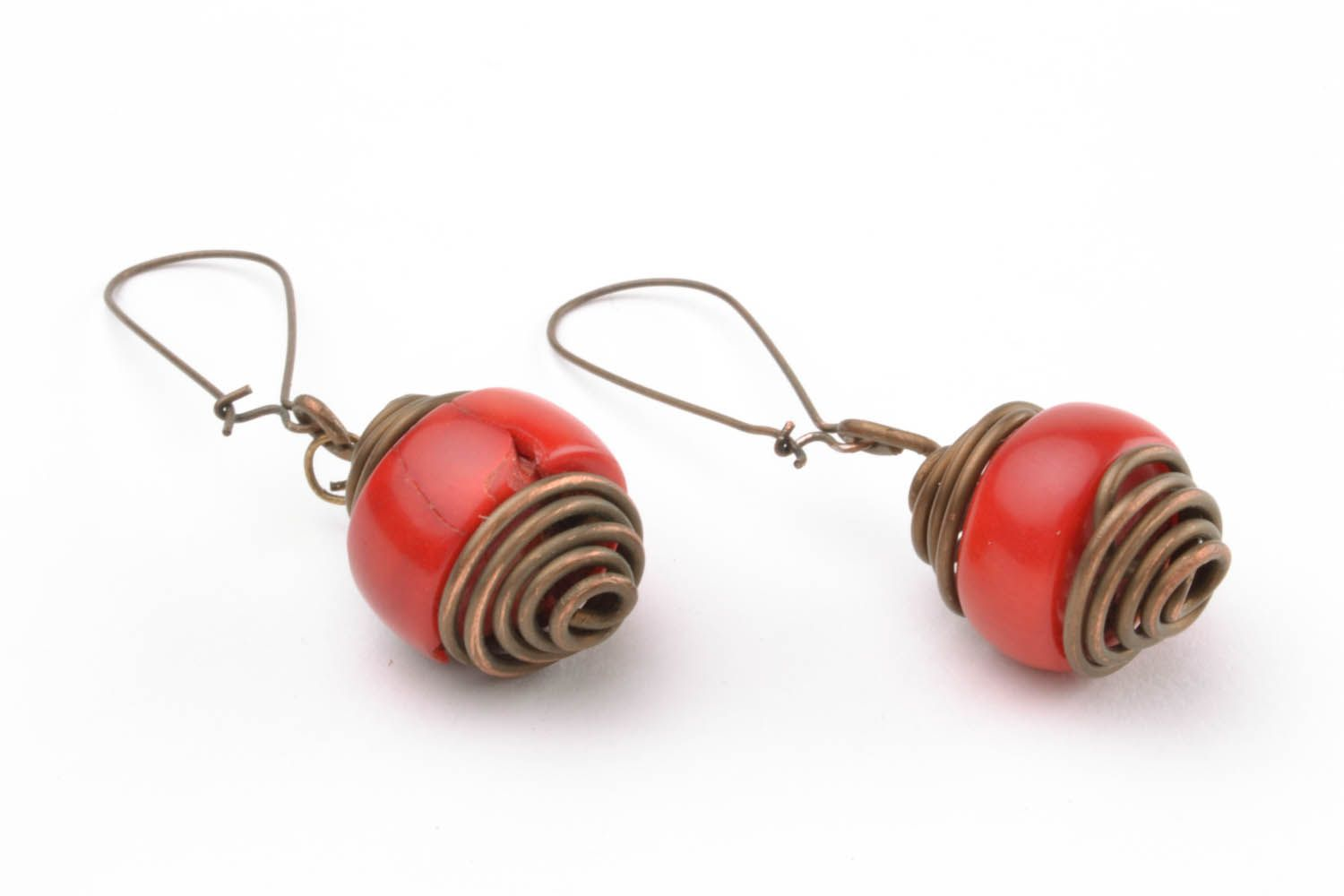 Copper earrings with coral  photo 3