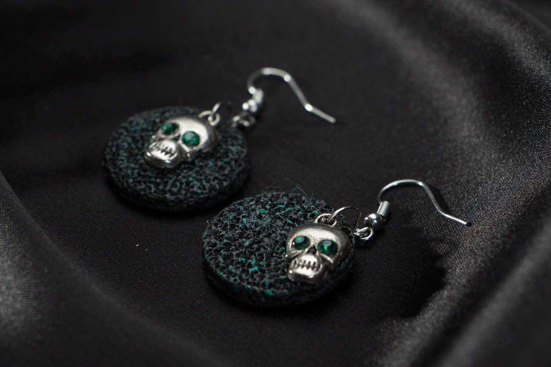 Polymer clay earrings Skulls photo 2