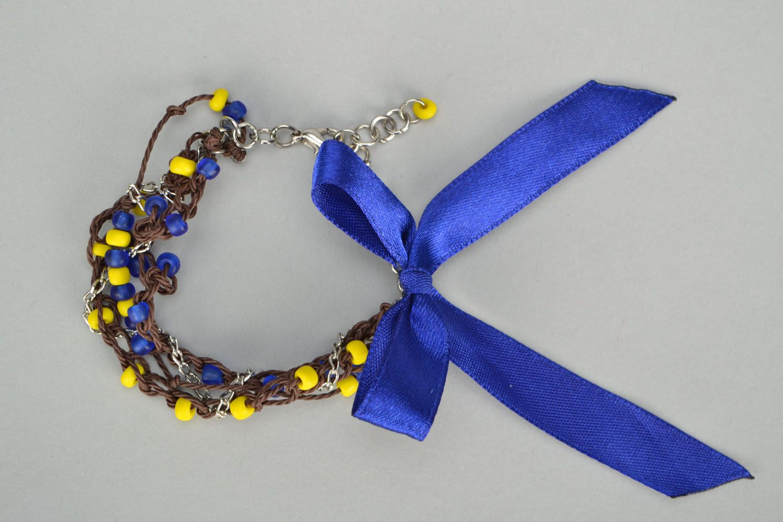 Wrist bracelet with satin ribbons photo 2