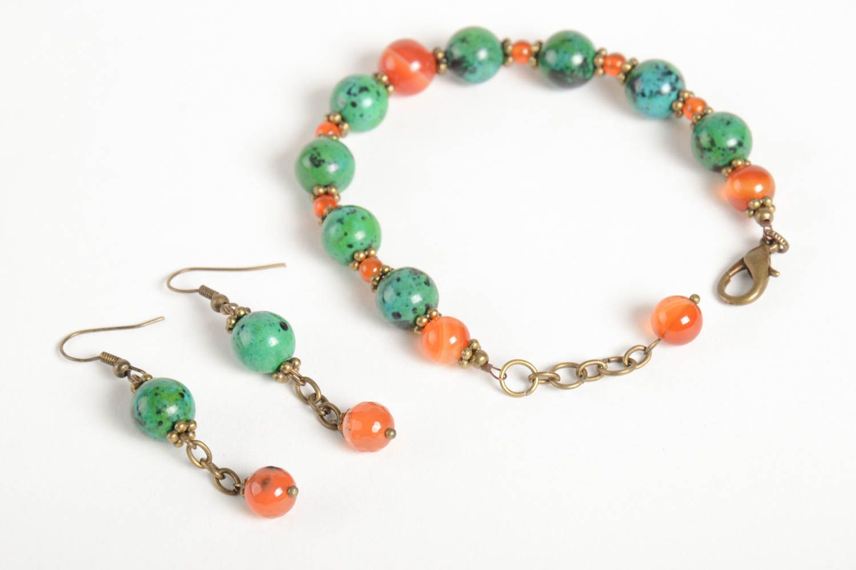 Handmade female wrist bracelet elegant designer earrings elite jewelry set photo 4