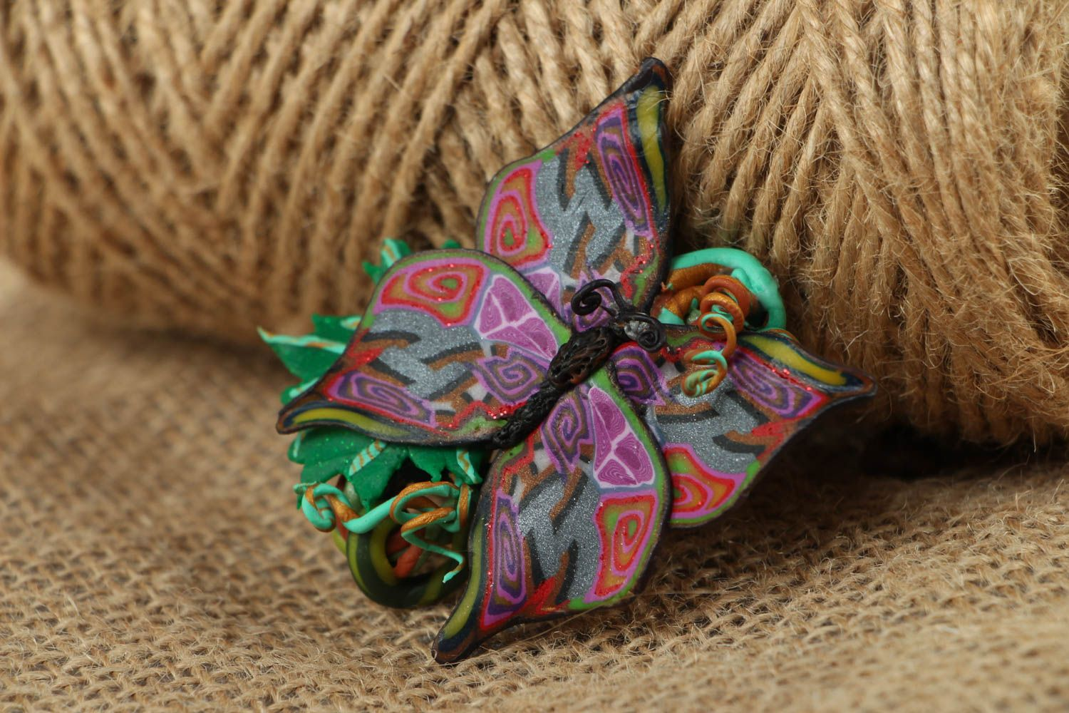 Women's polymer clay brooch in the shape of butterfly photo 5