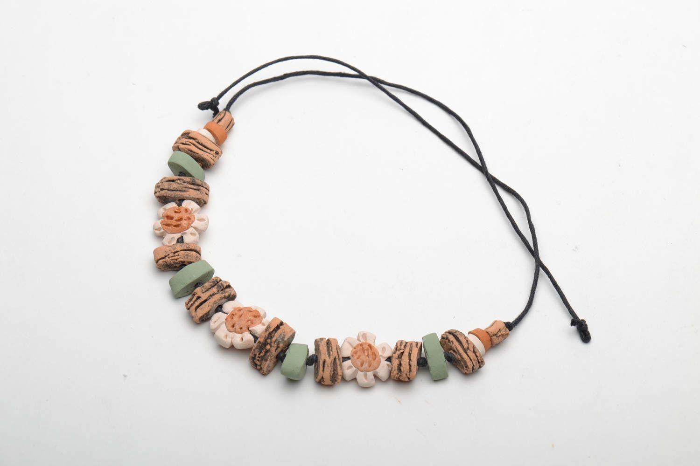 Глиняный браслет на вощеном шнурке фото 4