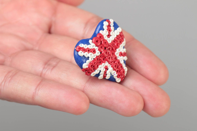 Handmade designer heart shaped polymer clay ring on metal basis Union Jack photo 5