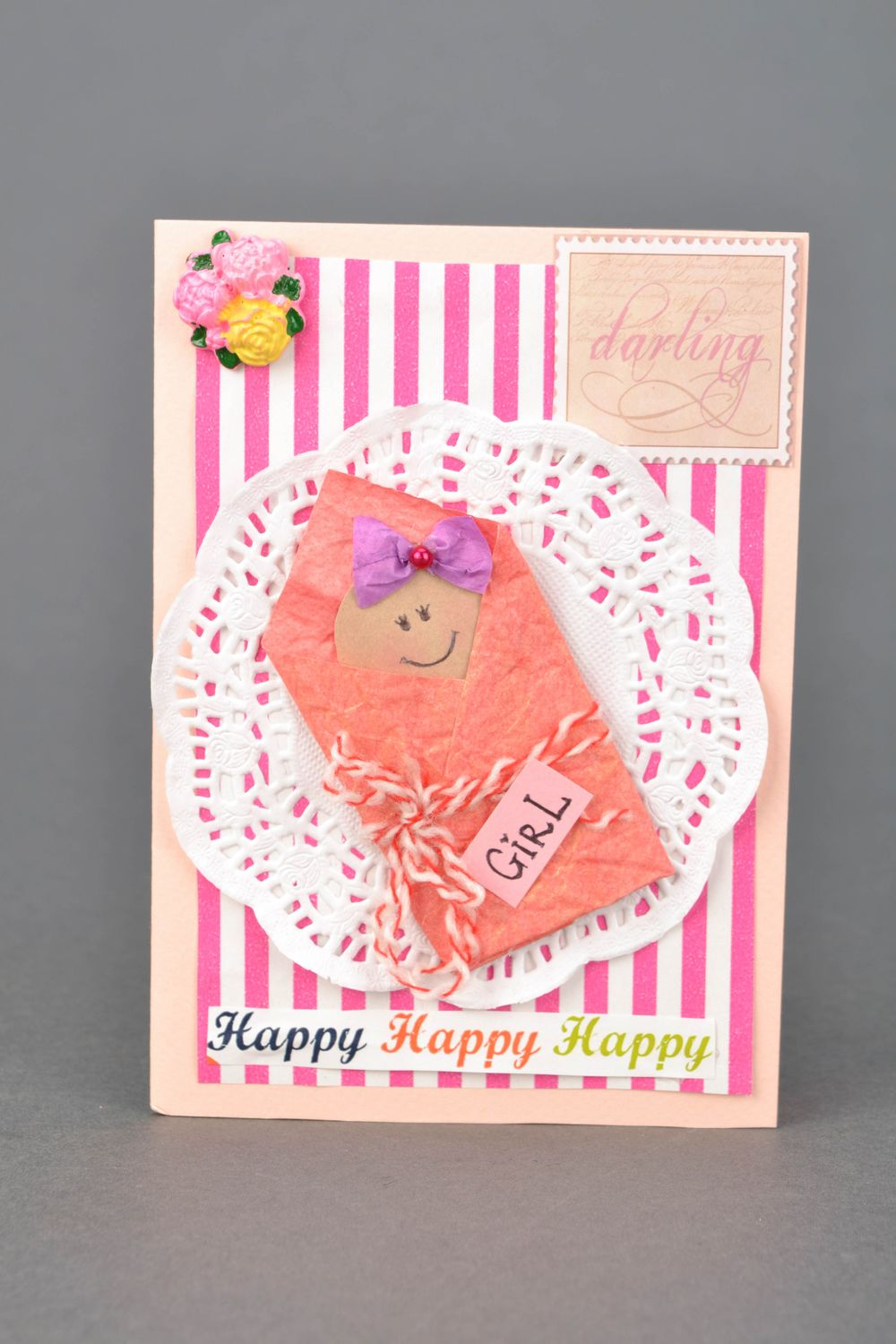 birthday Handmade greeting card for birth of daughter - MADEheart.com
