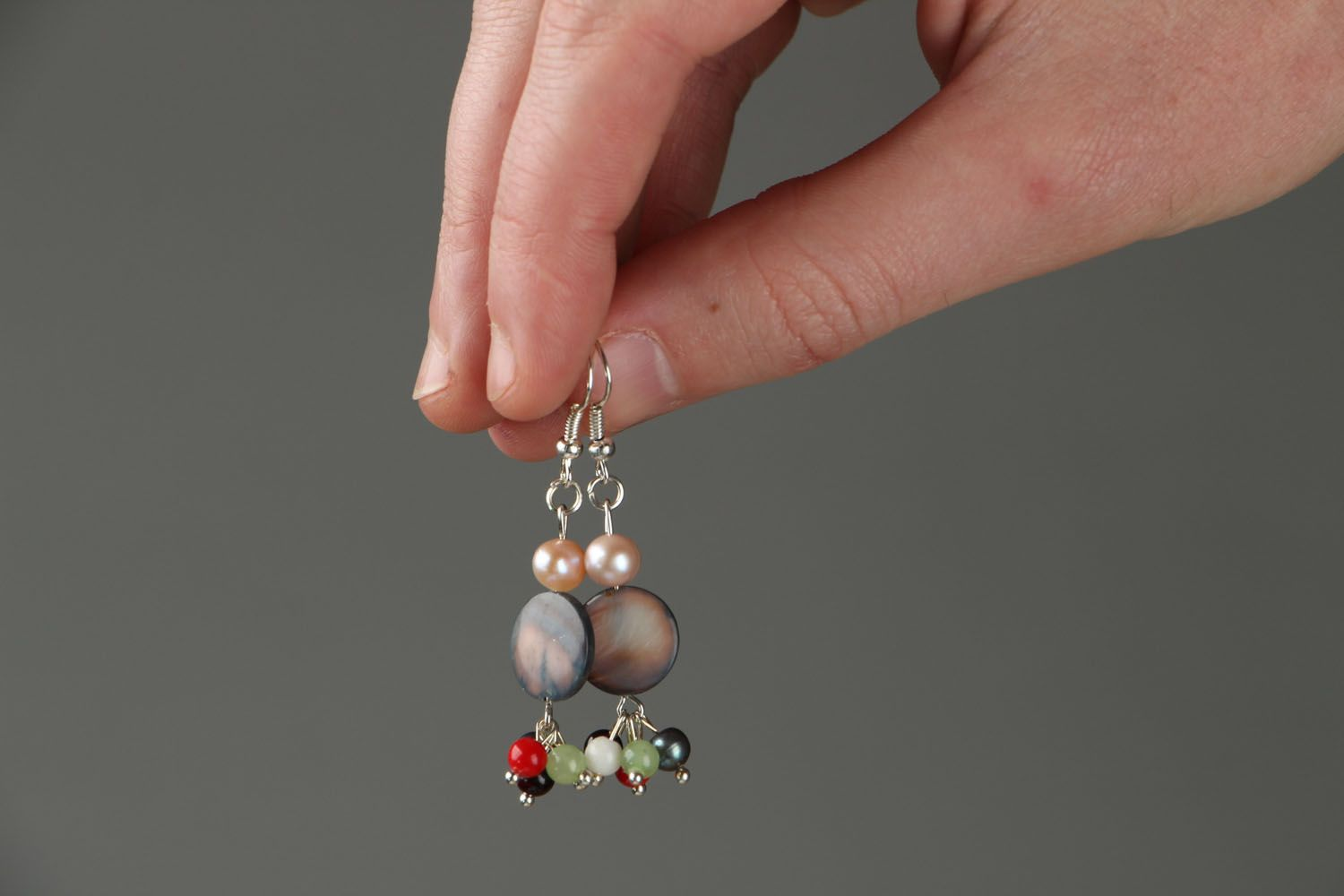 Earrings with natural stones photo 4