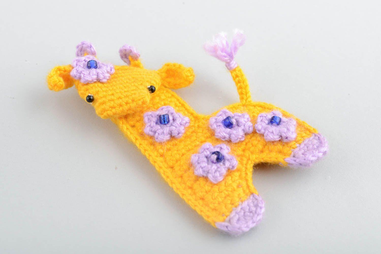 Handmade decorative soft crocheted magnet toy yellow Giraffe with flowers  photo 4