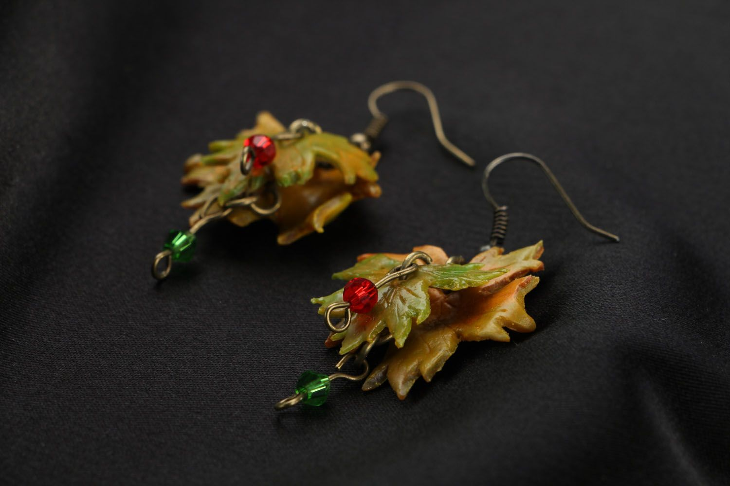 Dangle earrings made of polymer clay Autumn photo 2