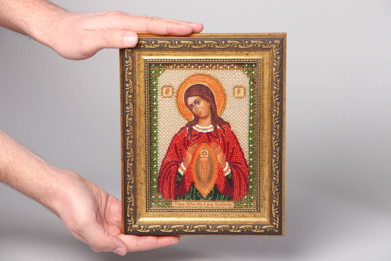 Bead embroidered icon in plastic frame photo 4