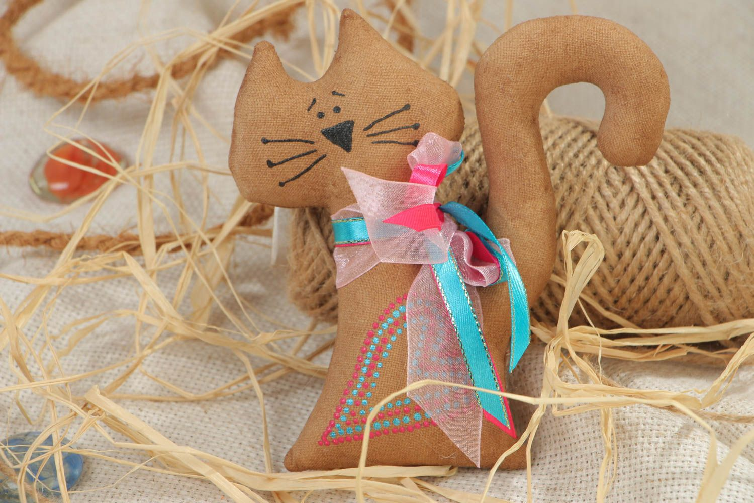 Handmade scented textile soft fridge magnet in the shape of cat photo 1