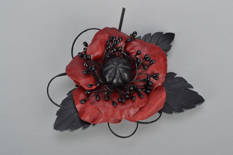Poppy flower brooch photo 1