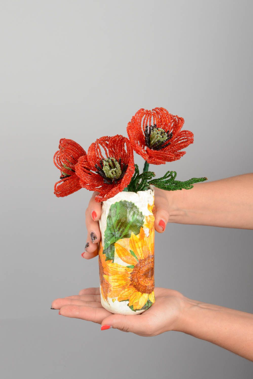 Madeheart flores de abalorios con florero artesanal for Decoracion hogar artesanal