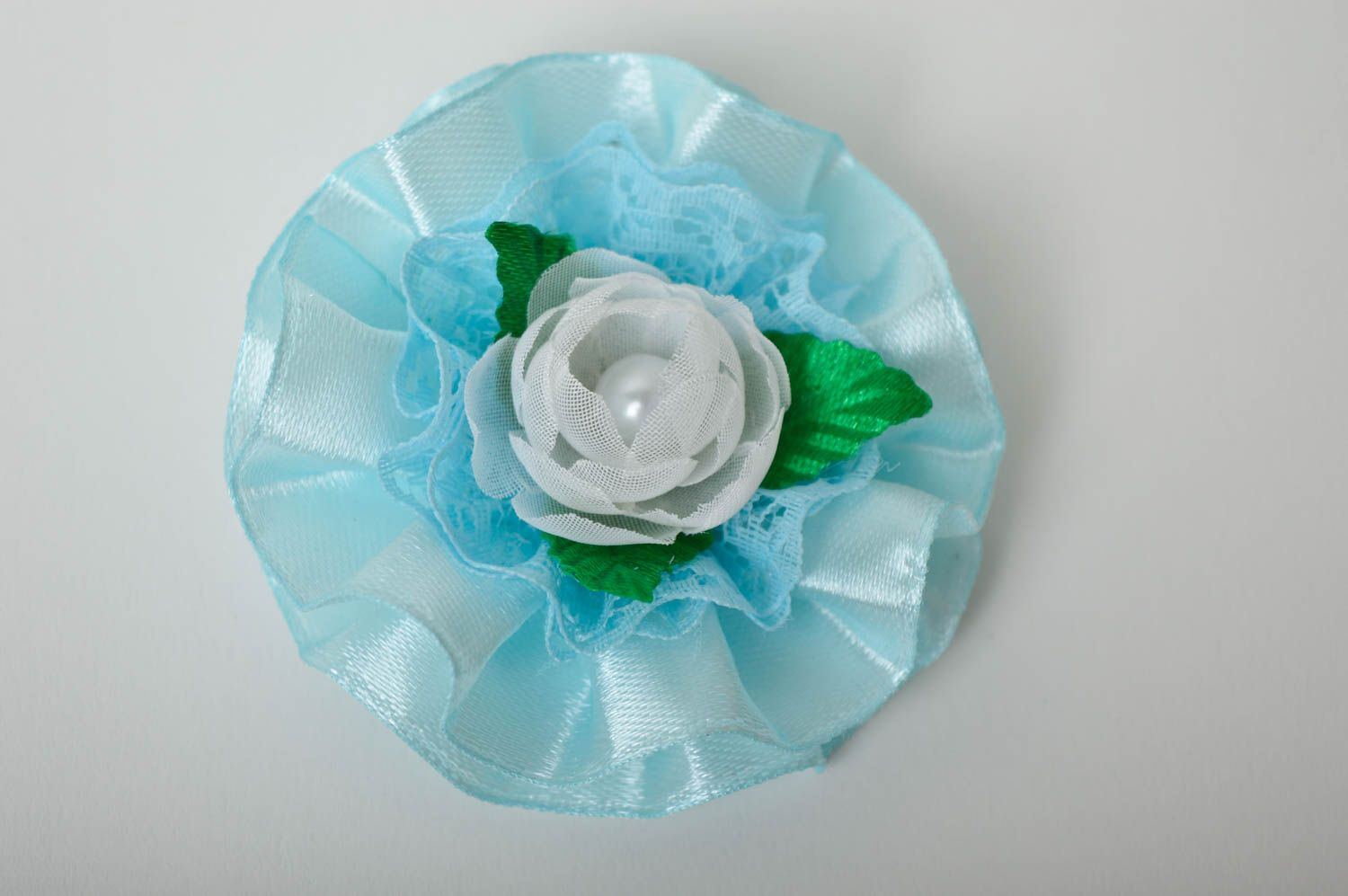 Beautiful handmade flower barrette textile hair clip hair accessories for kids photo 2
