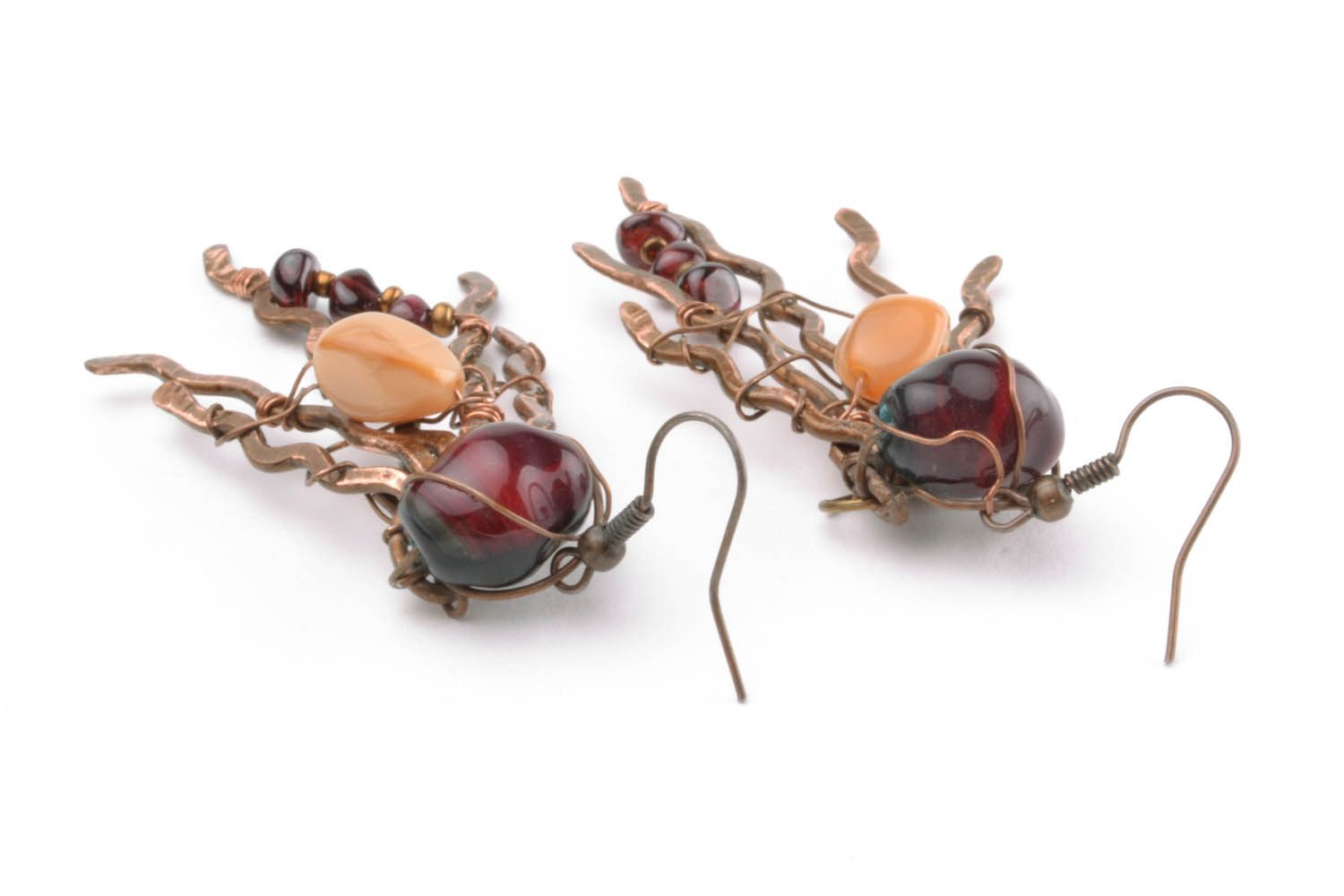 Copper earrings with natural stones photo 3