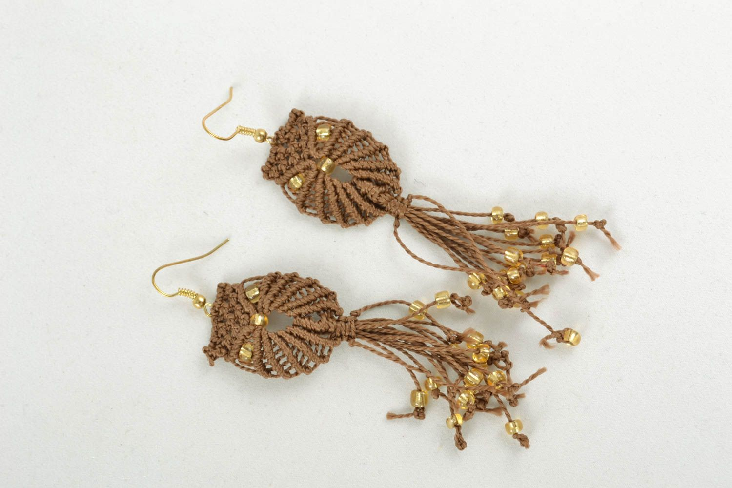 Long macrame earrings photo 3