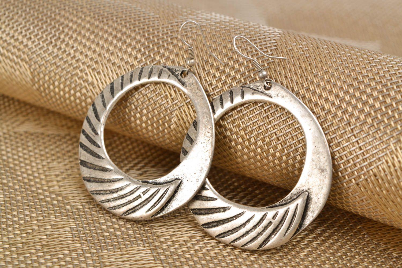 Handmade hoop earrings with patterns photo 1