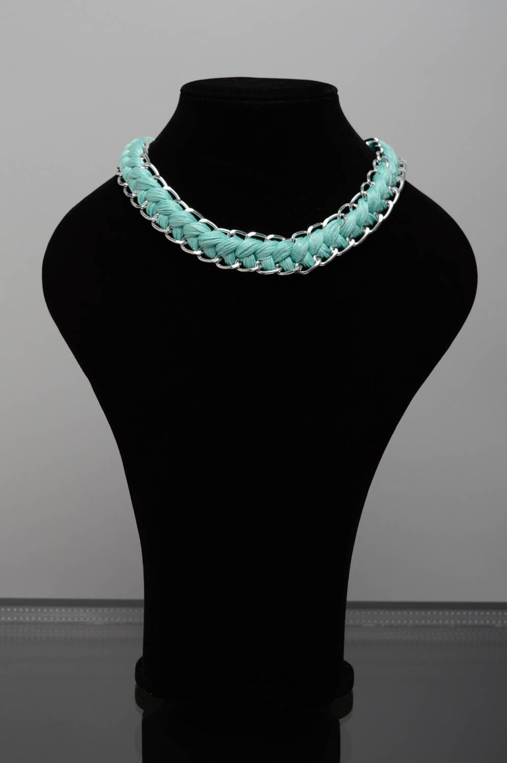 Mint embroidery floss necklace photo 2