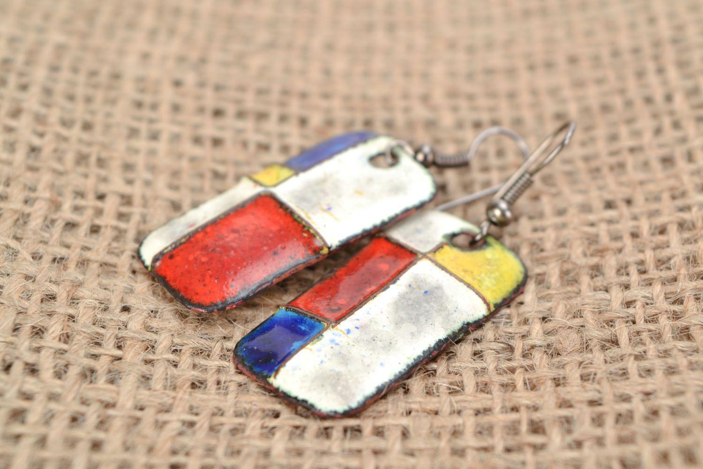 Copper earrings with geometric pattern photo 1