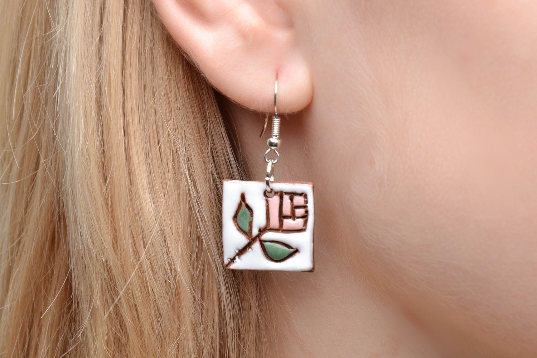 Ceramic earrings in ethnic style photo 2