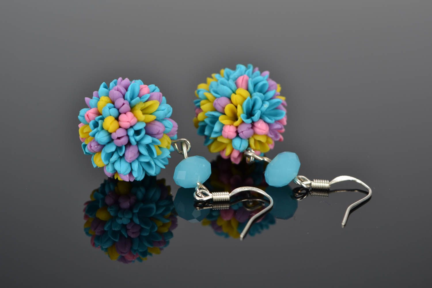 Earrings made of cold porcelain Field Bouquet photo 1