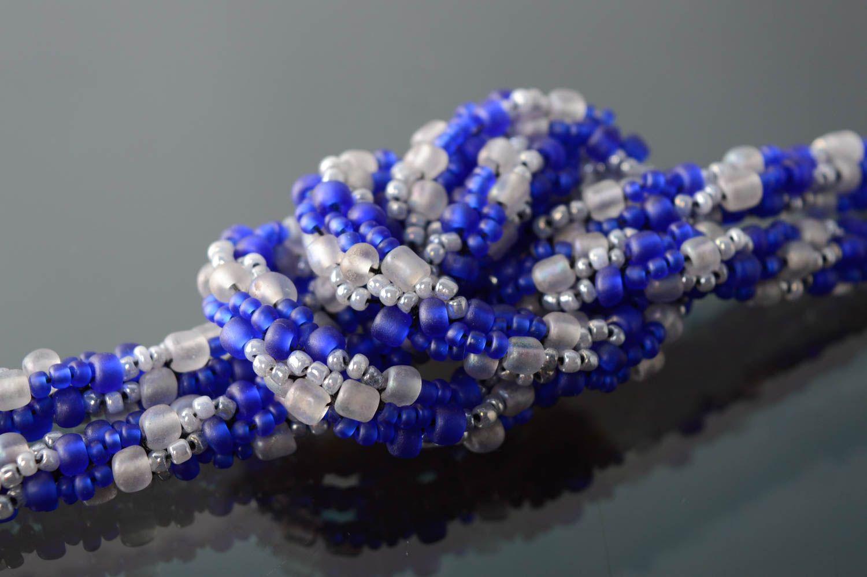 Лариат пояс из бисера синий фото 4