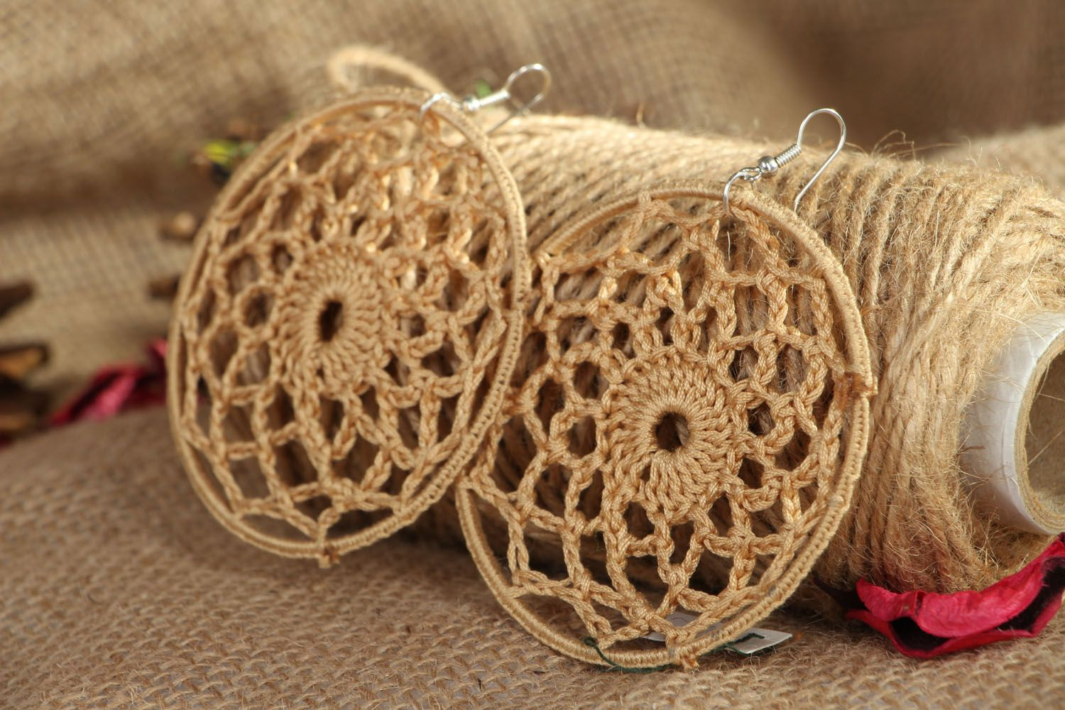 Round lacy earrings photo 4