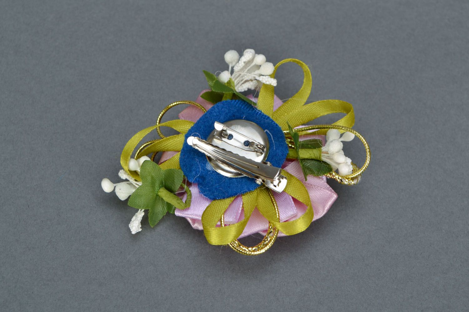 Gentle brooch-hair clip with ribbons Tea Rose photo 4