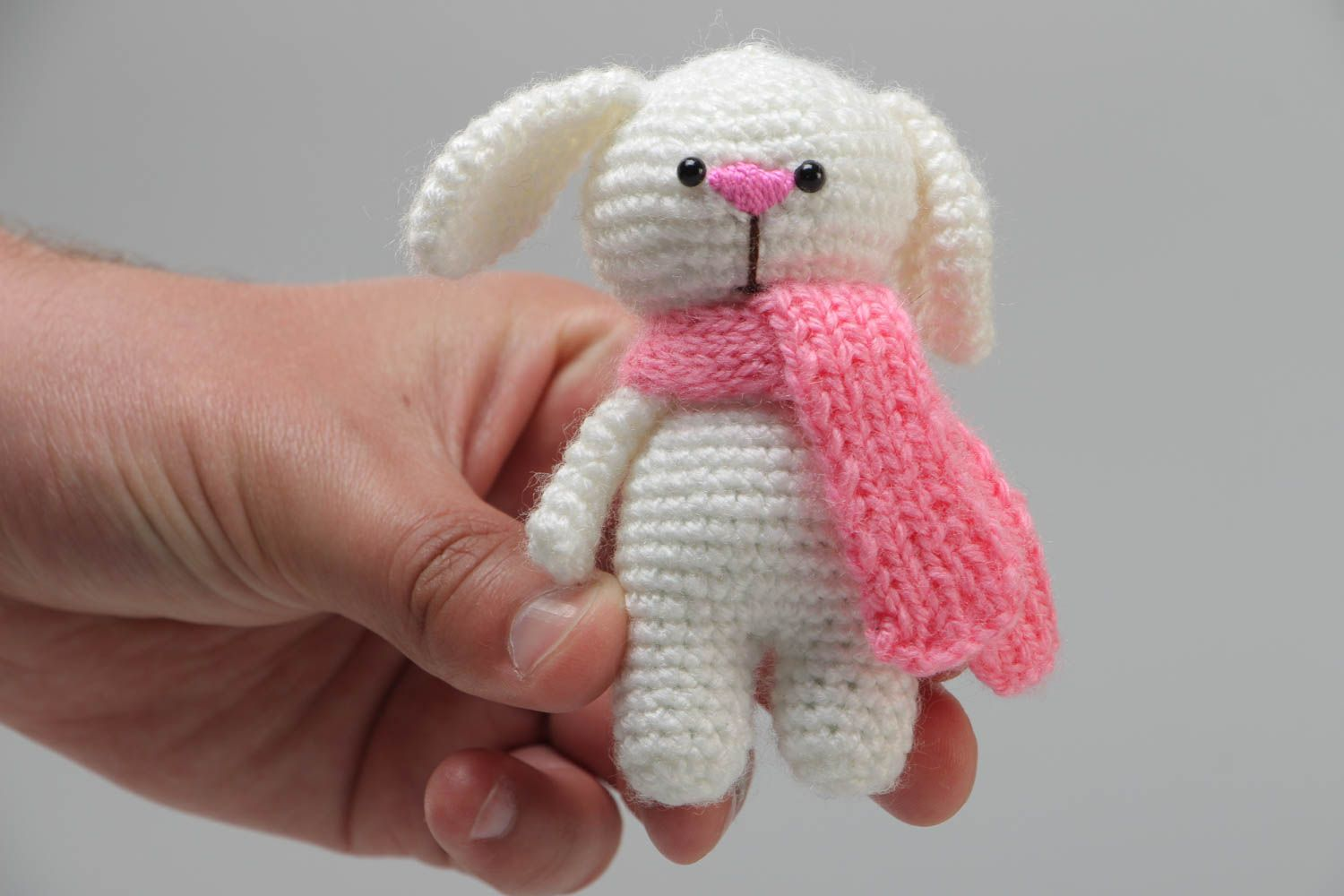 knitted toys Handmade soft toy crocheted of acrylic threads white rabbit with pink scarf - MADEheart.com