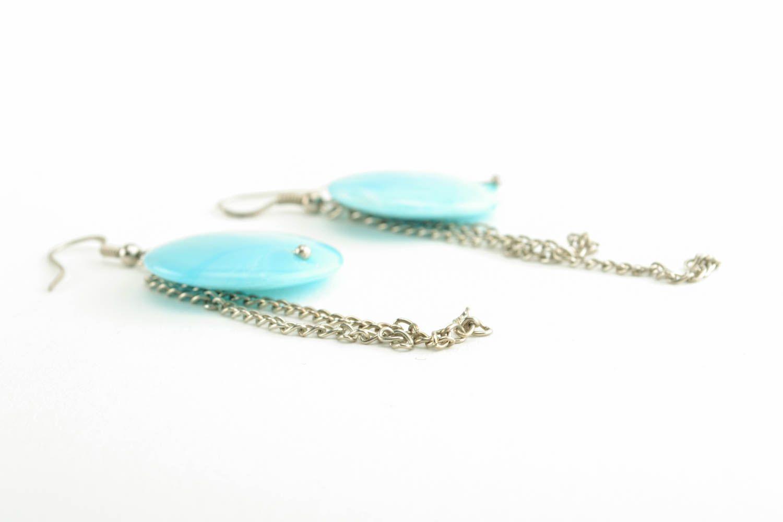 Türkisblaue Ohrringe mit Kunststoff Perlen foto 2