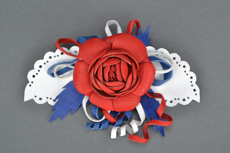 Blume Haarspange aus Leder foto 3